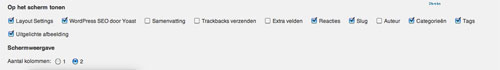 checkboxes scherminstellingen | Easy WordPress Website