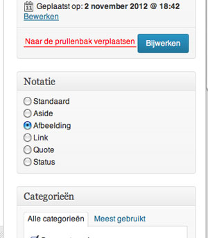 Notatie Bericht in WordPress 3.5 | Easy WordPress Website