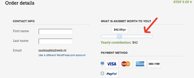 Bepaal je contributie voor Akismet  | Easy WordPress Website | Biz2Web