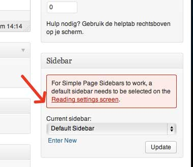 Simple Page Sidebars Instellen Default Sidebar | Biz2Web